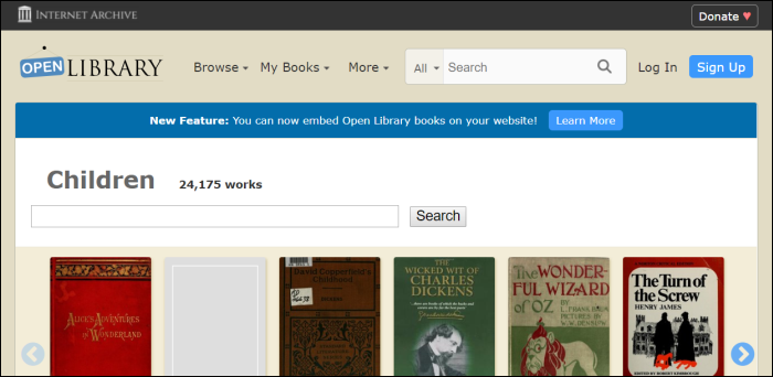 open library by internet archive home page