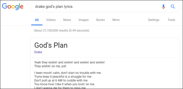 searching for song lyrics on google.com