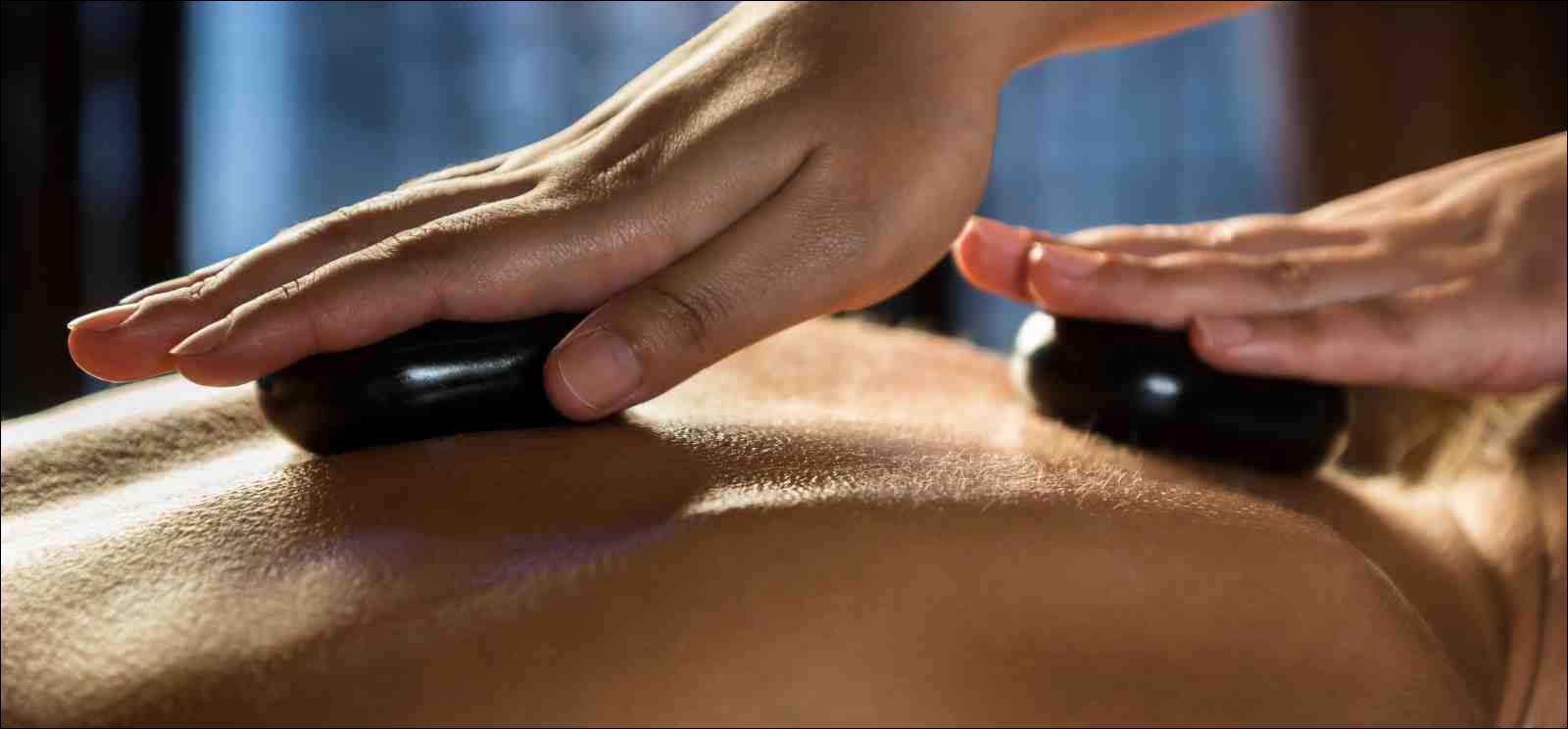 Stone-therapy massage close-up