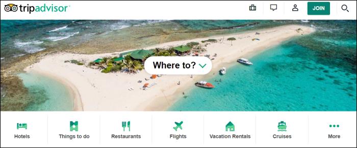 trip advisor home page