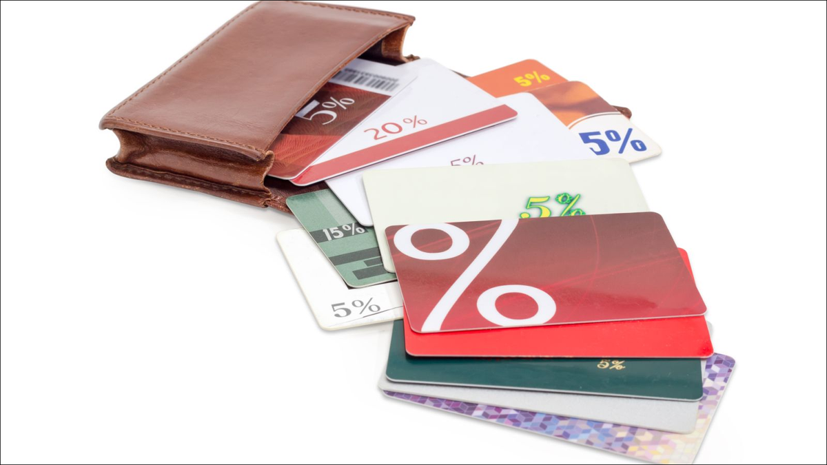 store loyalty cards spilling from wallet