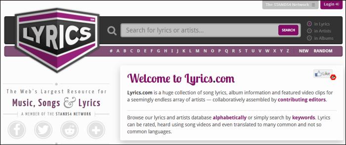 lyrics.com home page