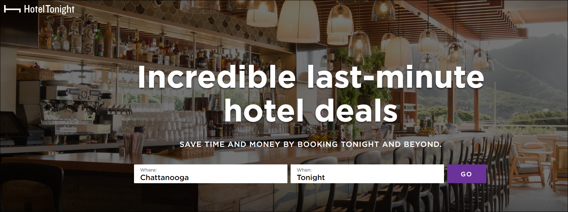 hoteltonight home page