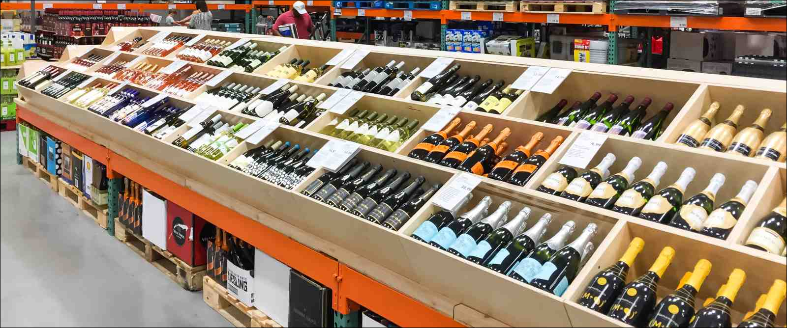 isle of bottles in wine section of Costco store