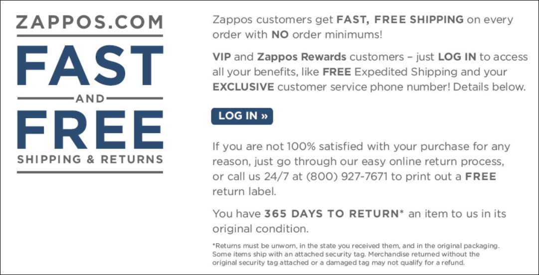 Zappos return policy web page