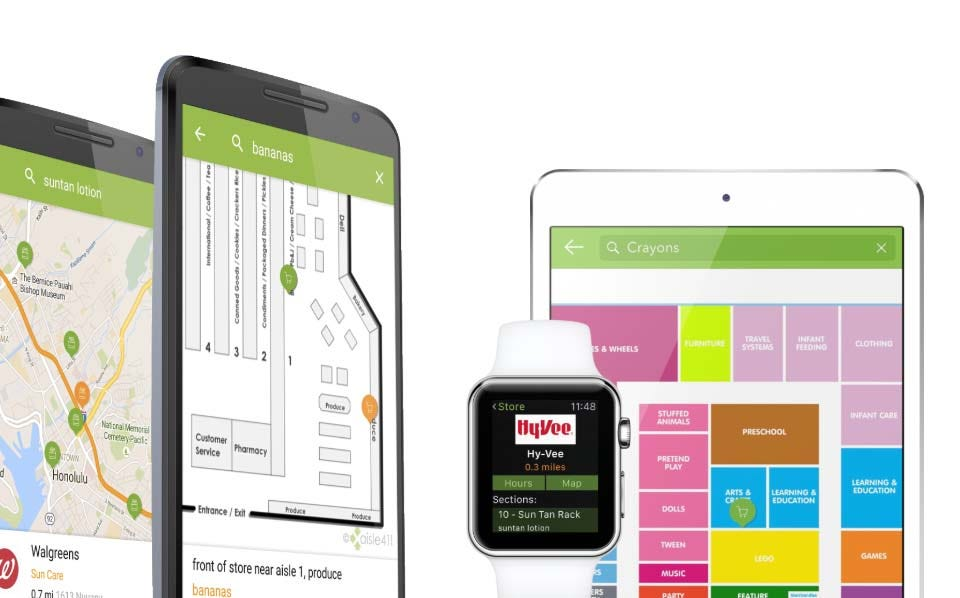 The Aisle411 app interface on multiple devices