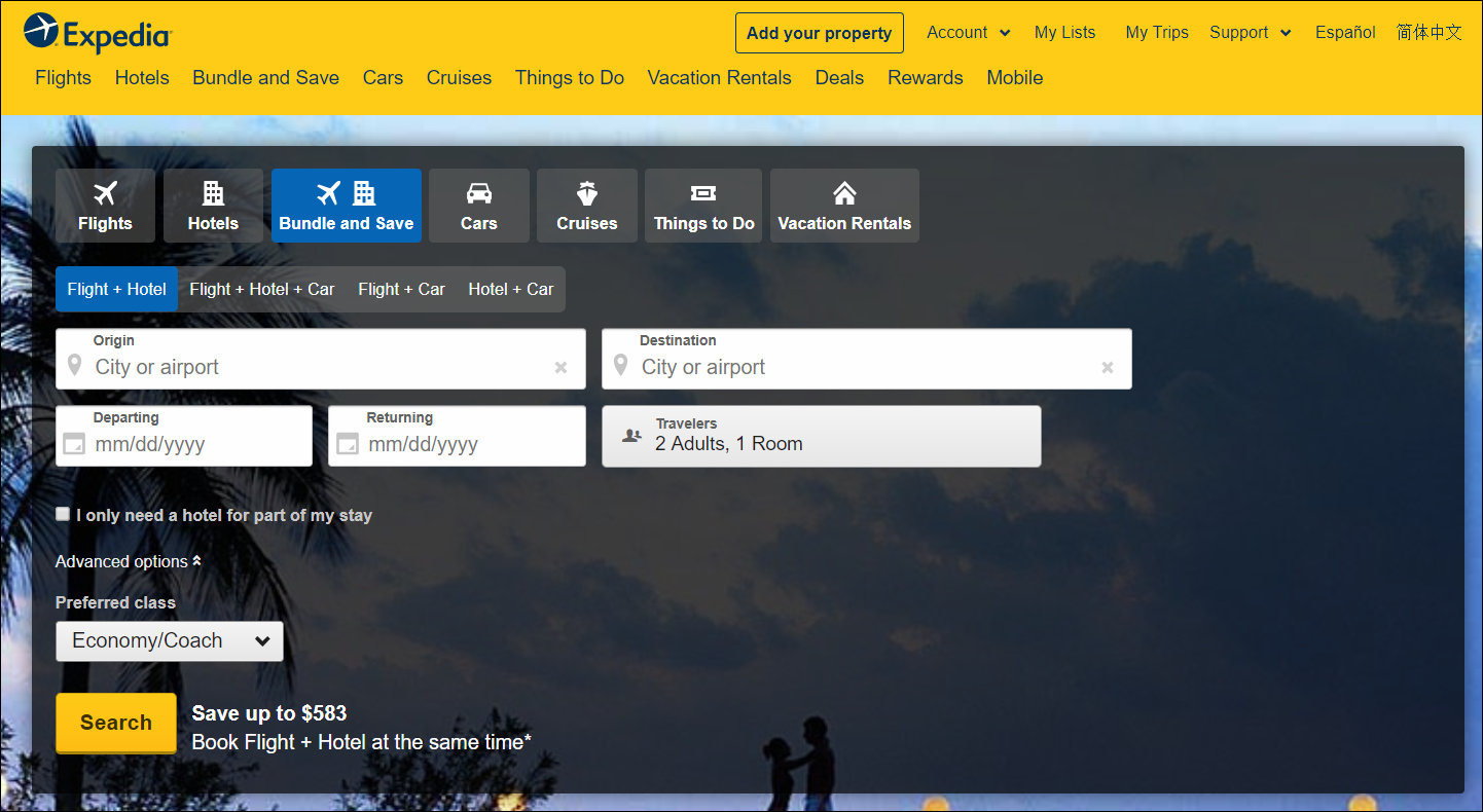 expedia home page