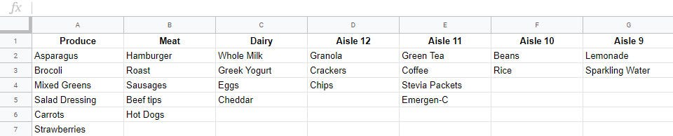 shopping list in excel