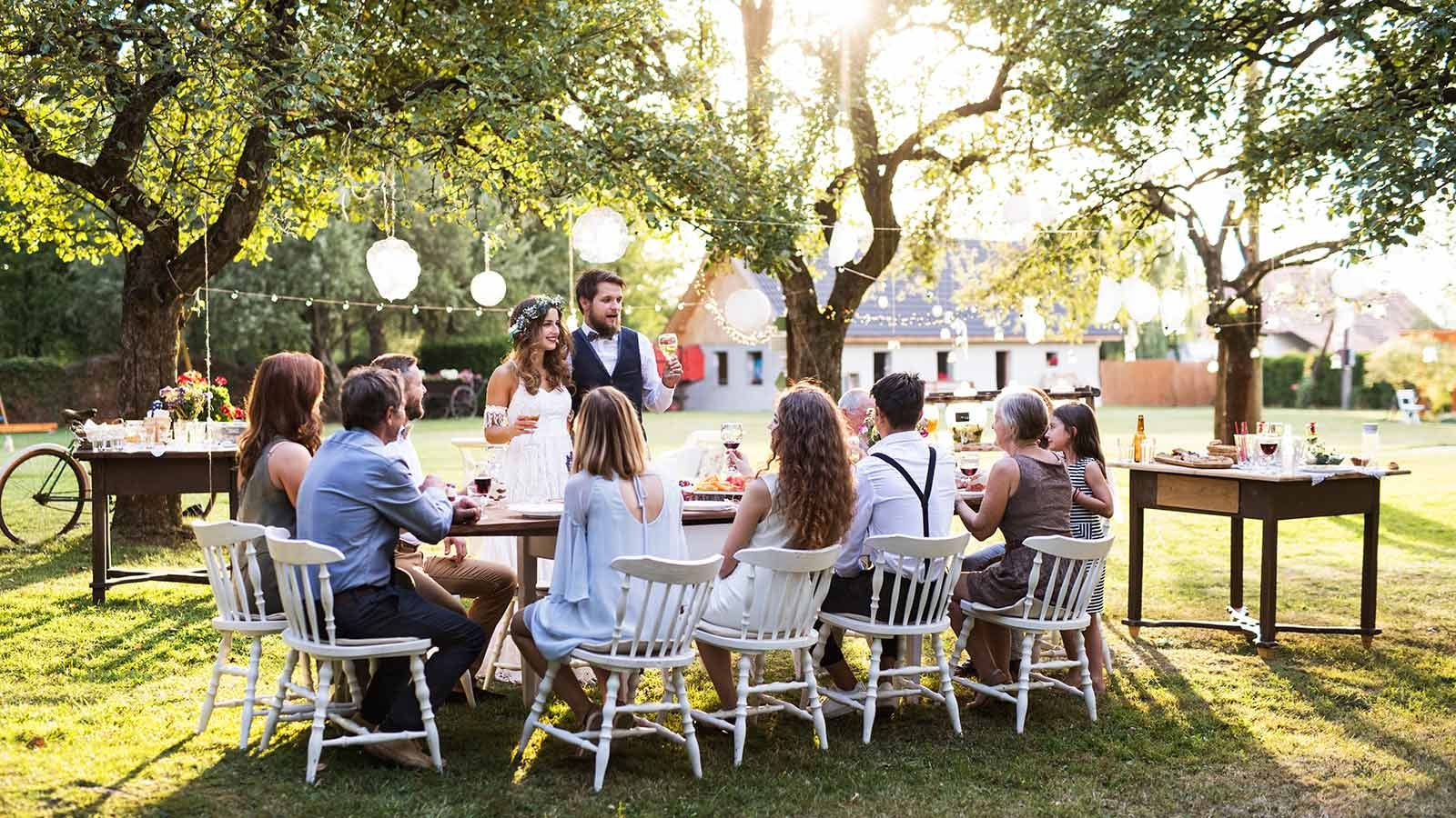Guests gathered at a casual wedding