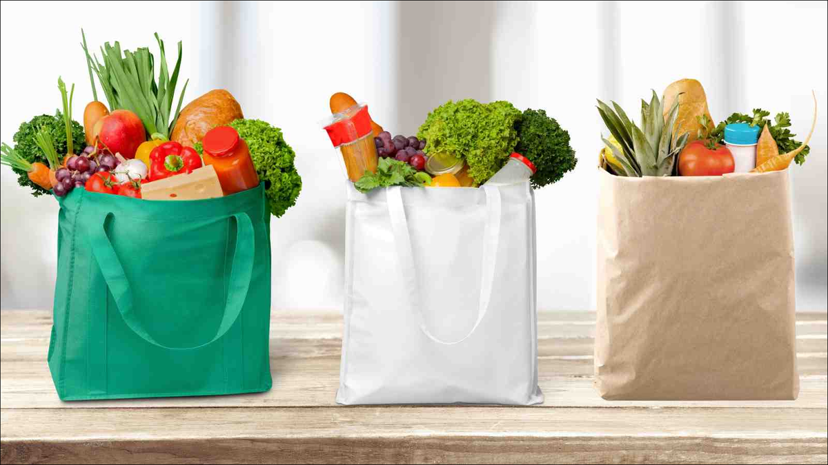 reusable shopping bags full of groceries