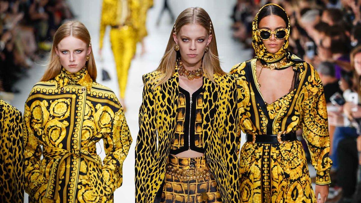 Models wearing multiple prints in the same color scheme