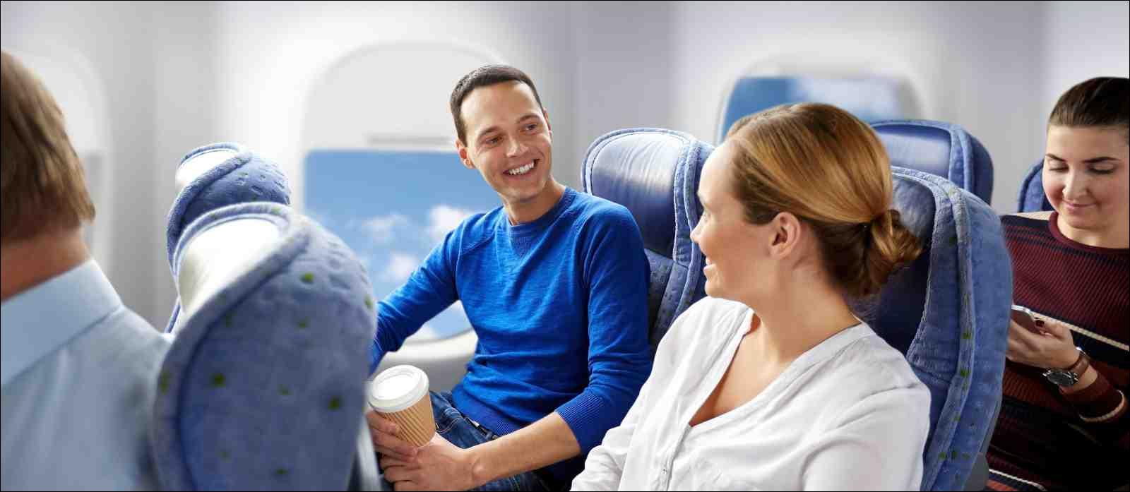 passengers talking during flight