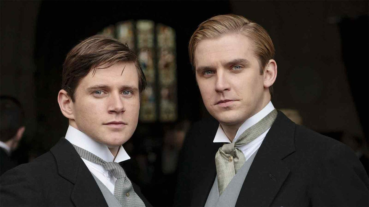 Downton Abbey actors in formal morning dress