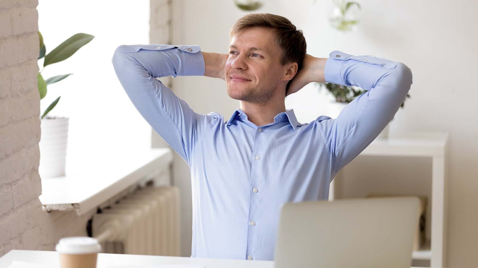 Man thinking about all the good things happening in his life