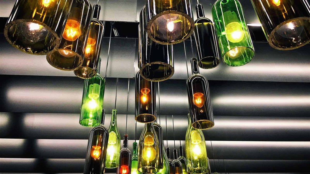 Retro light lamp decoration made of empty wine bottles