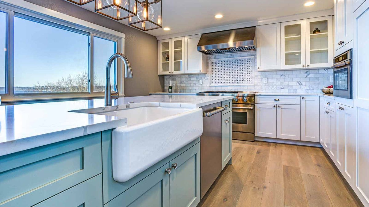 Beautiful kitchen with a wide farm-style sink
