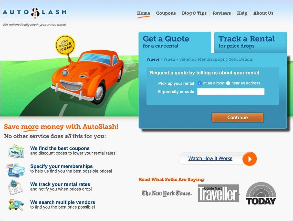 AutoSlash's website.