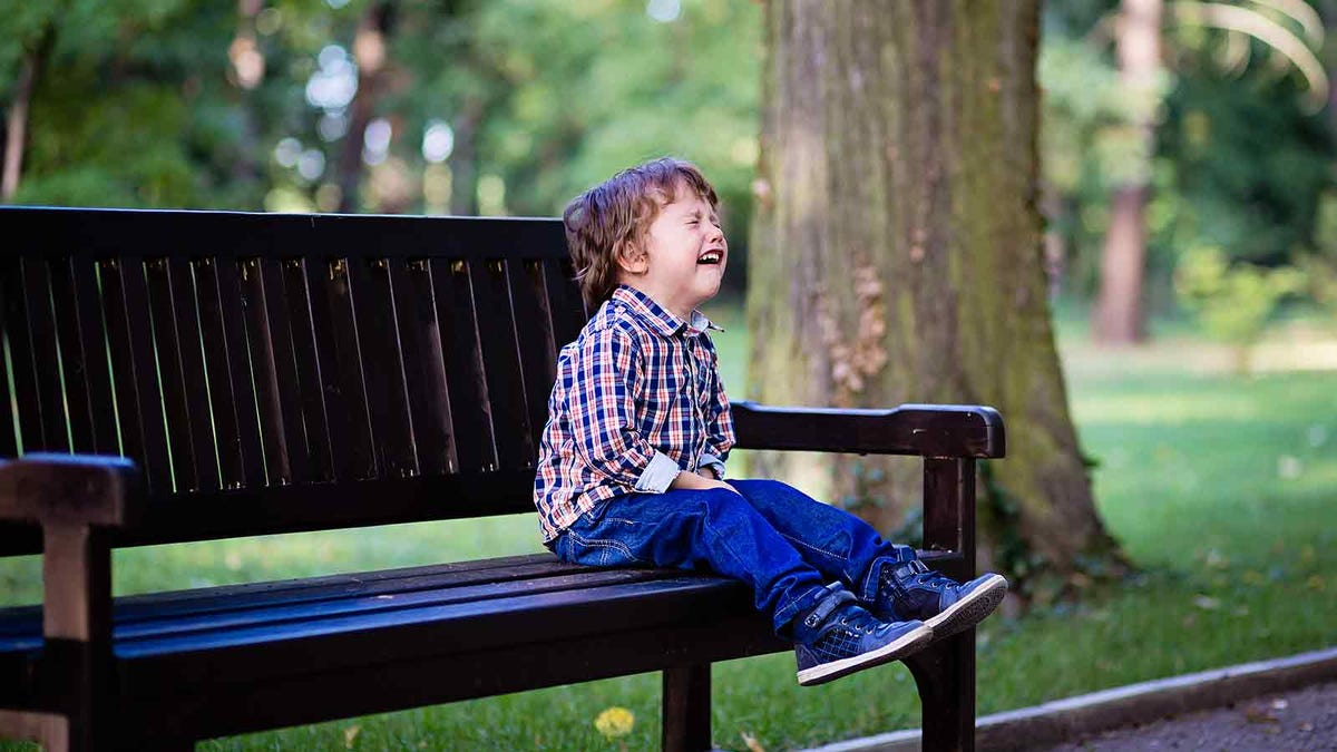Three year old boy having a temper tantrum in the park
