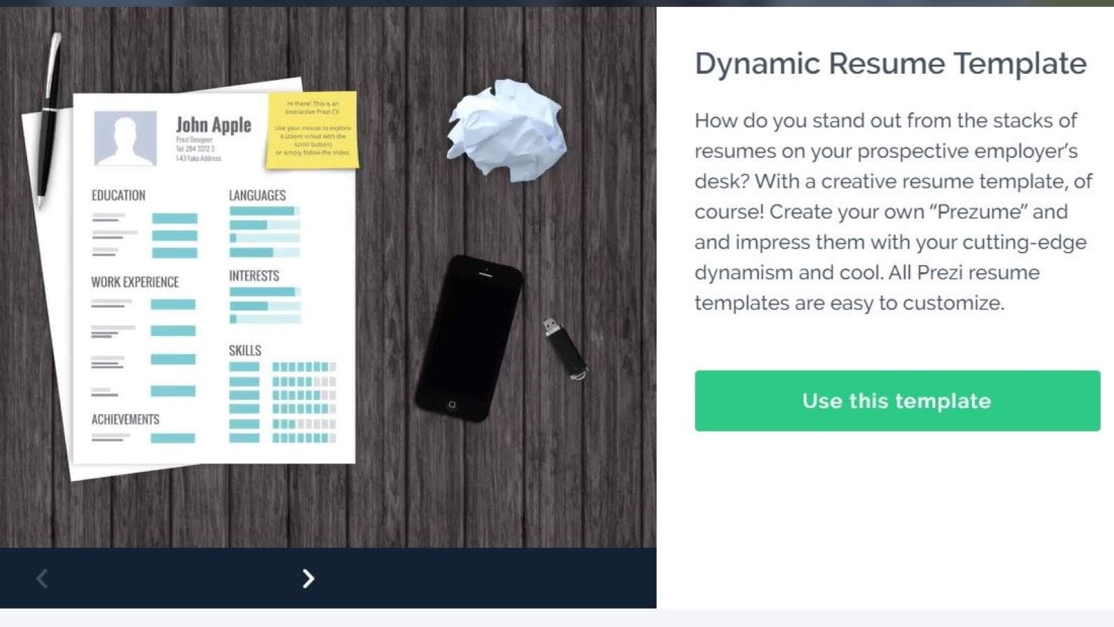 A Dynamic Resume Template on Prezi