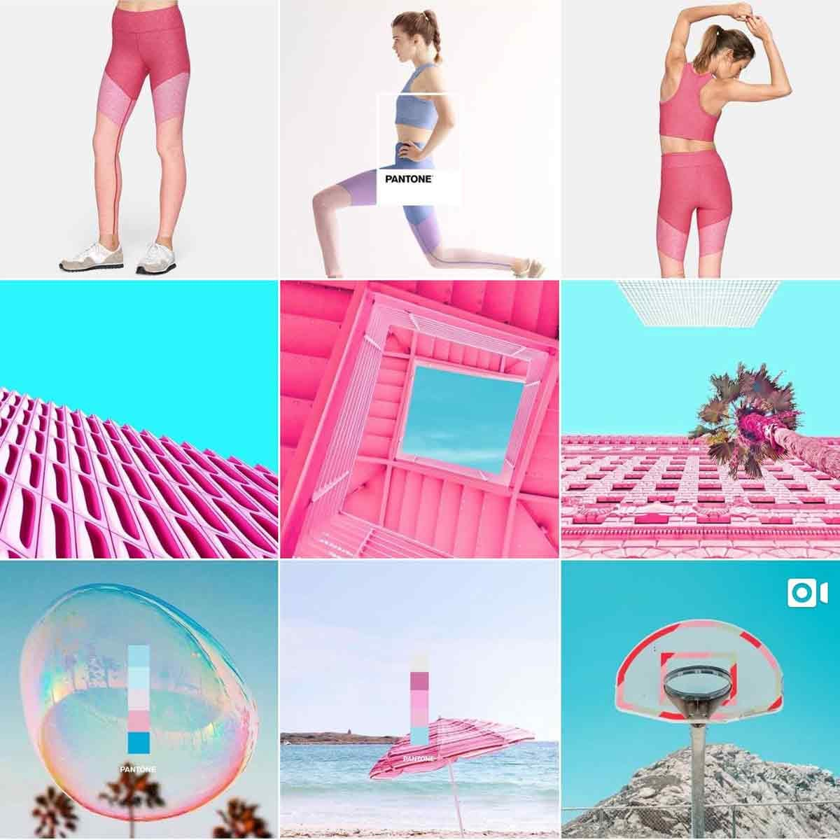 Colorful teal and pink photos from the Pantone Instagram account