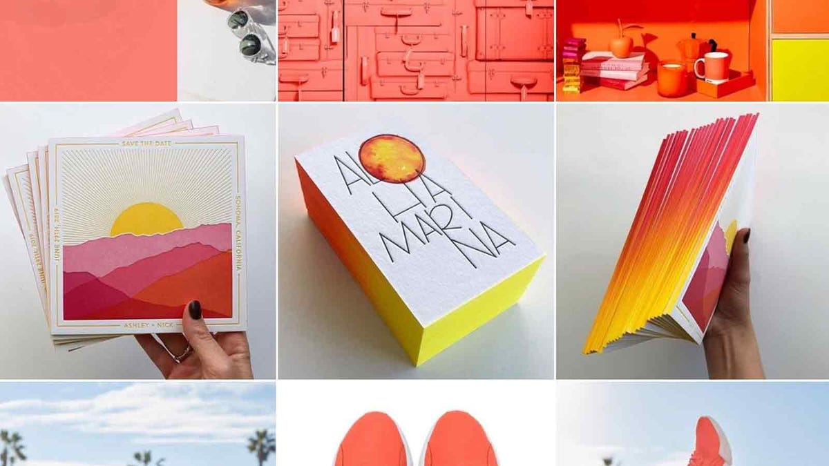 colorful spread of photos from the Pantone Instagram account