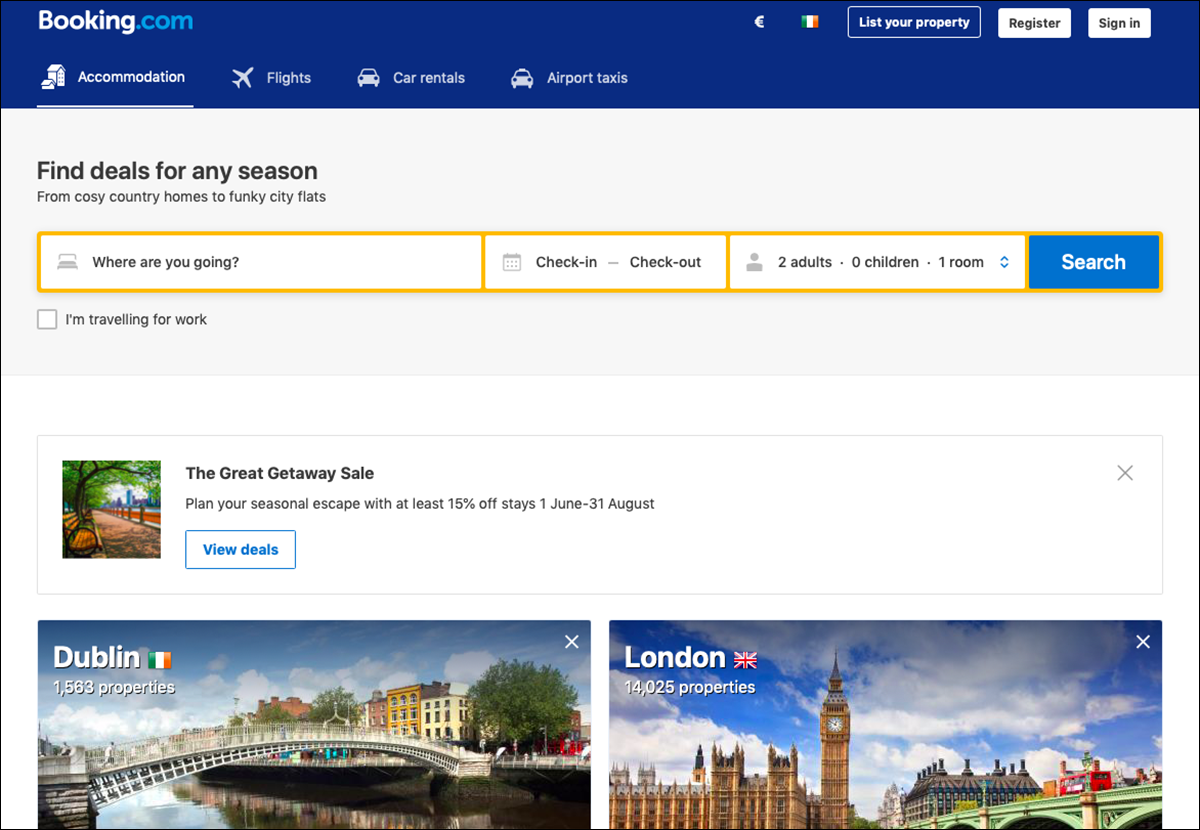 The Booking.com homepage.