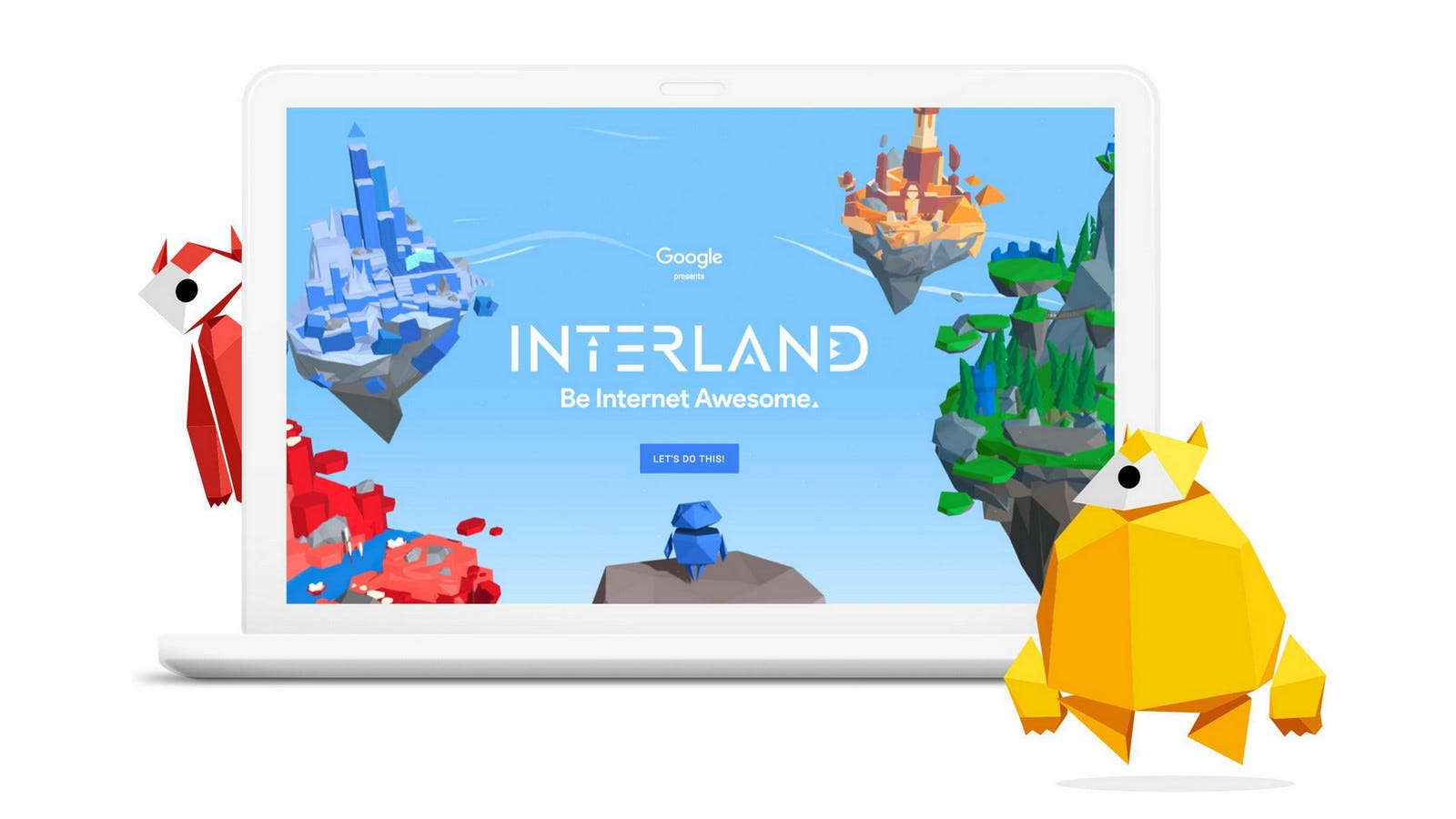 Laptop with Interland, the Google internet safety game, displayed on the screen along with the mascots