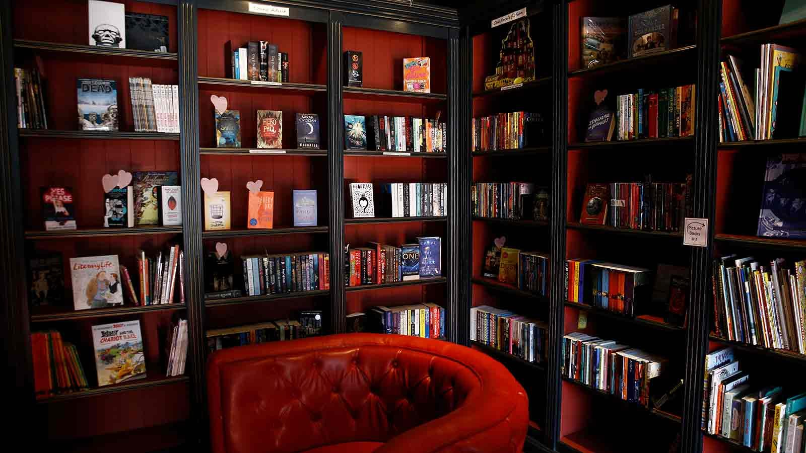 Cozy library corner with a plush overstuffed chair.