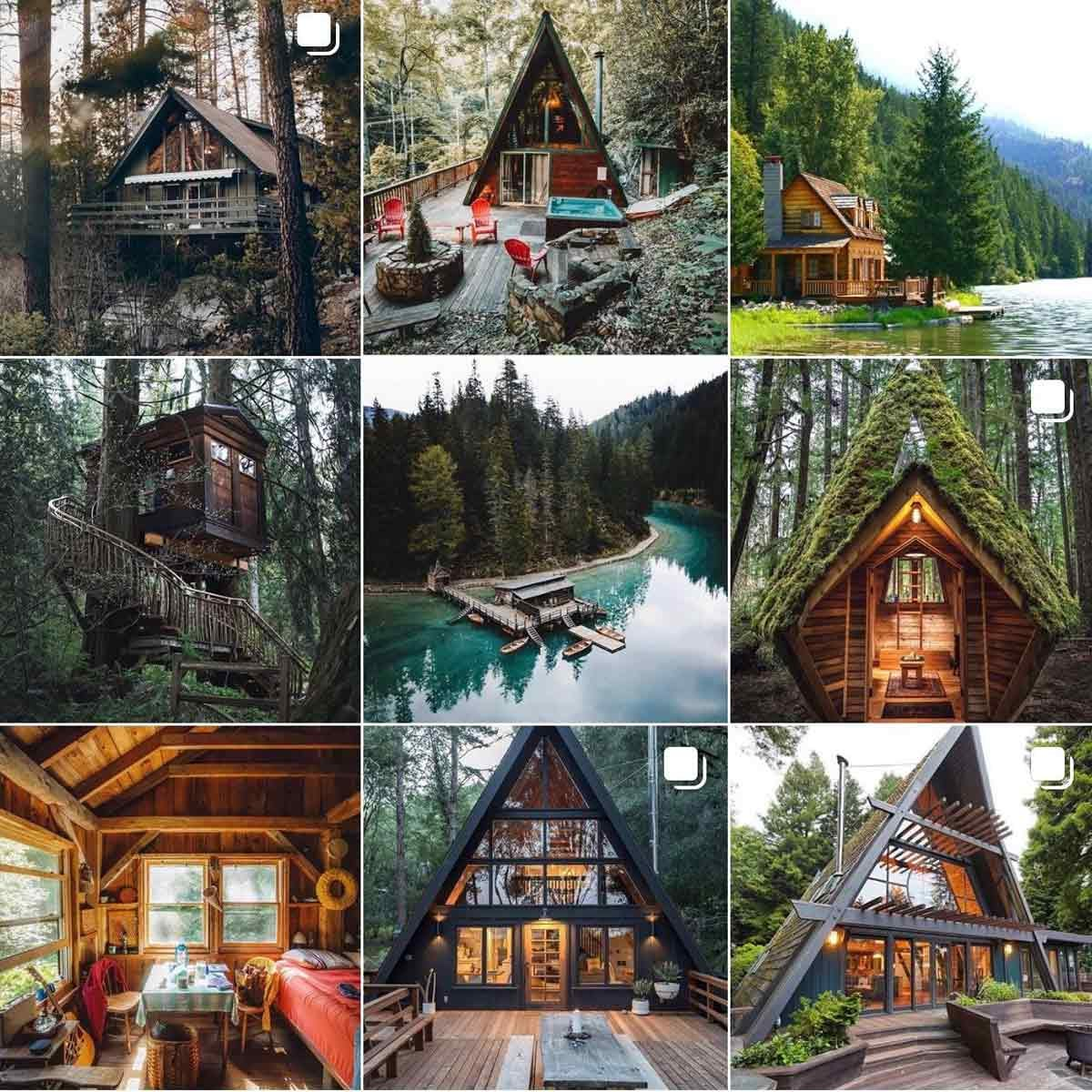 a spread of photos featuring cabins in the woods and their cozy interiors
