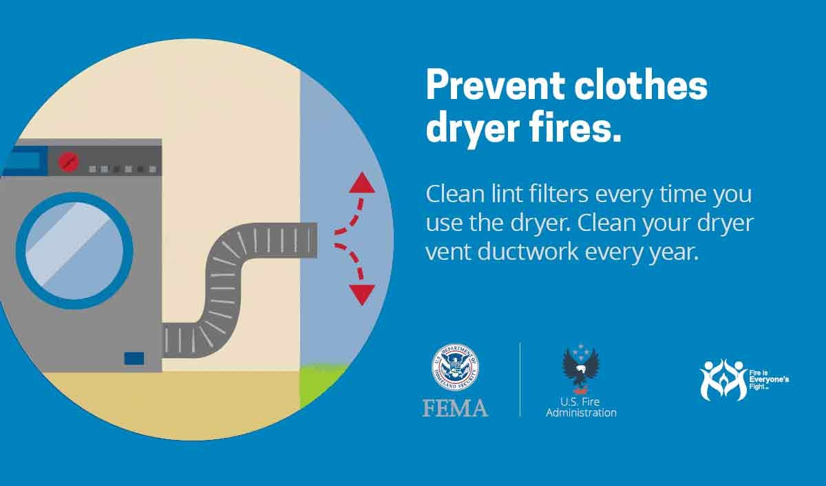 Fire prevention PSA from FEMA, encouraging people to clean their dryer vent once a year.