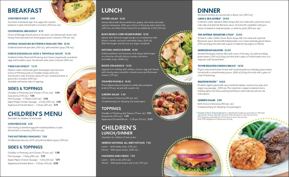 Amtrak's restaurant car menu.