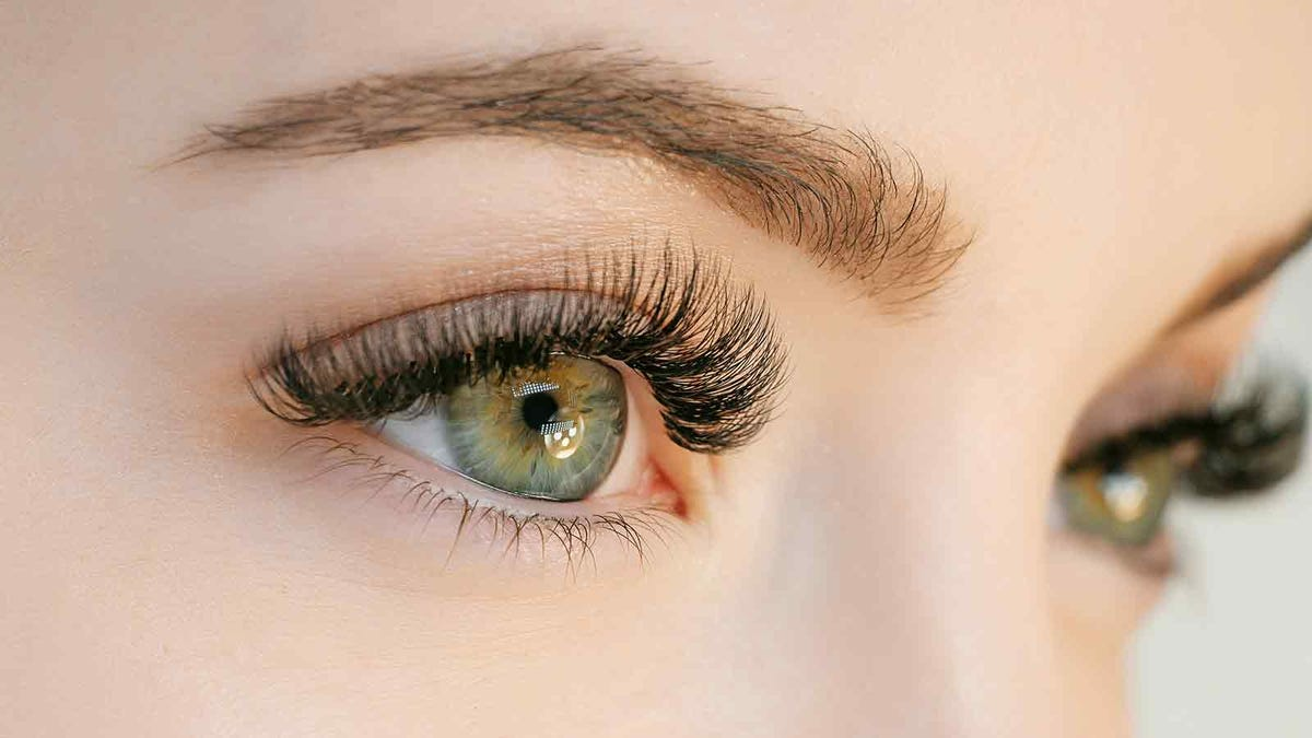 Close up photo of a woman's full eye lashes
