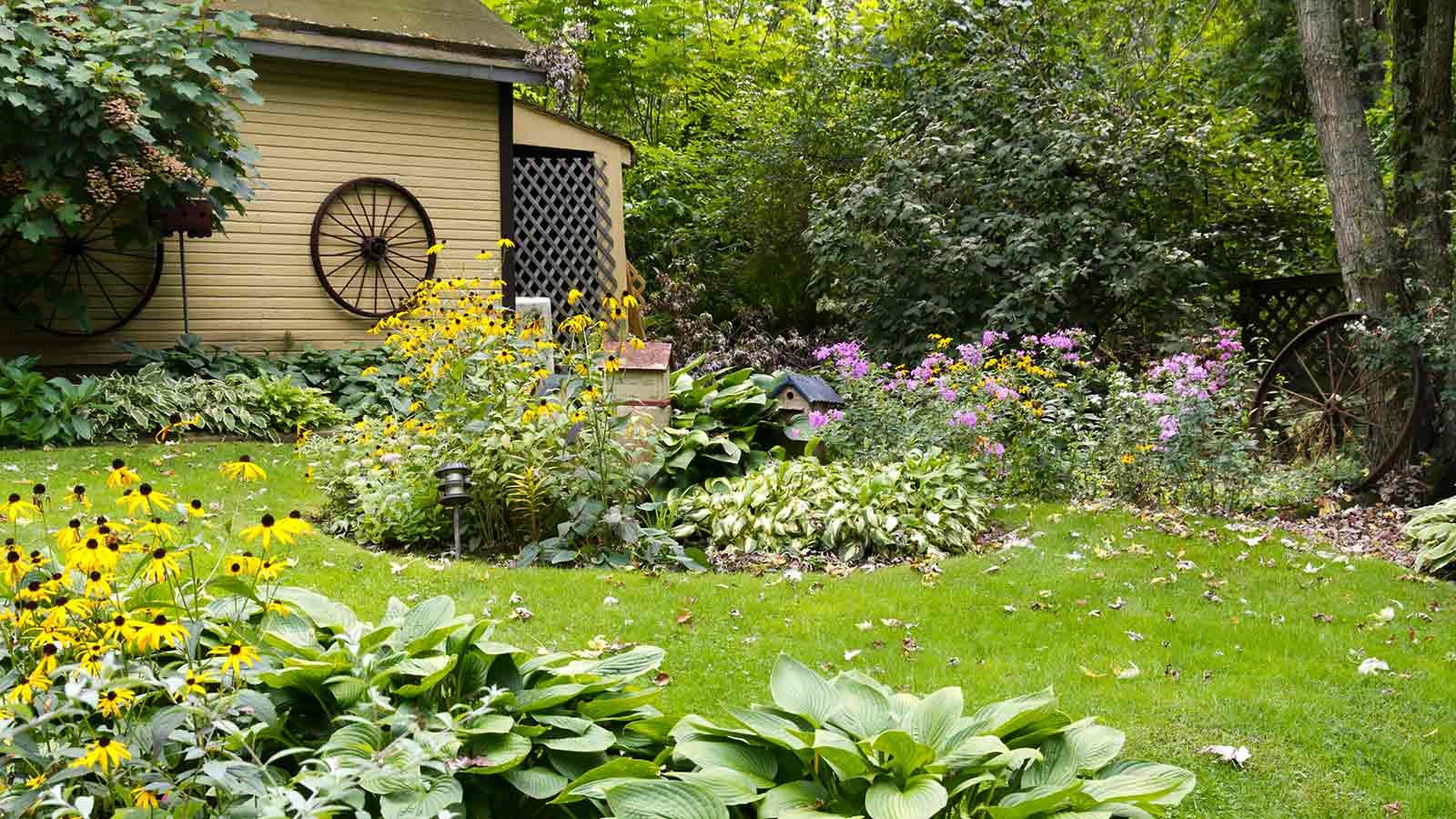 An outbuilding behind a garden.
