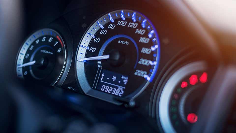 Gauges on a car's dashboard.