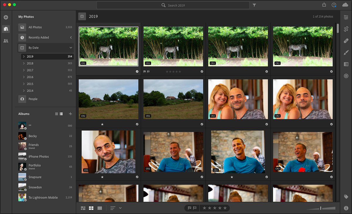 A gallery of images in Adobe Lightroom.