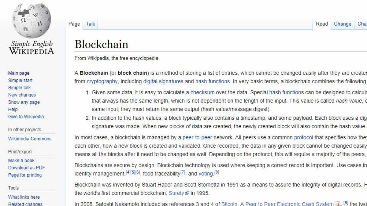 """The Simple English Wikipedia page for """"Blockchain."""""""