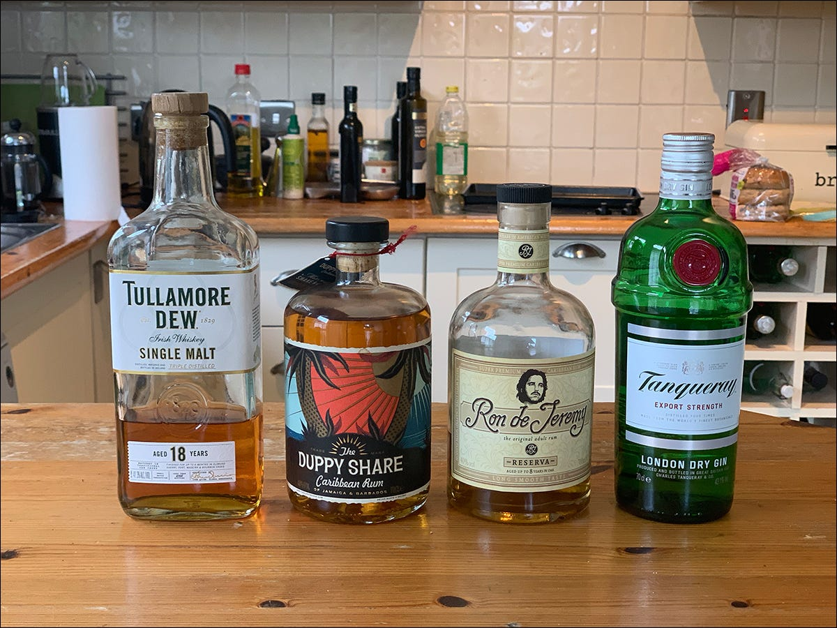 Examples of base spirits used in cocktails.