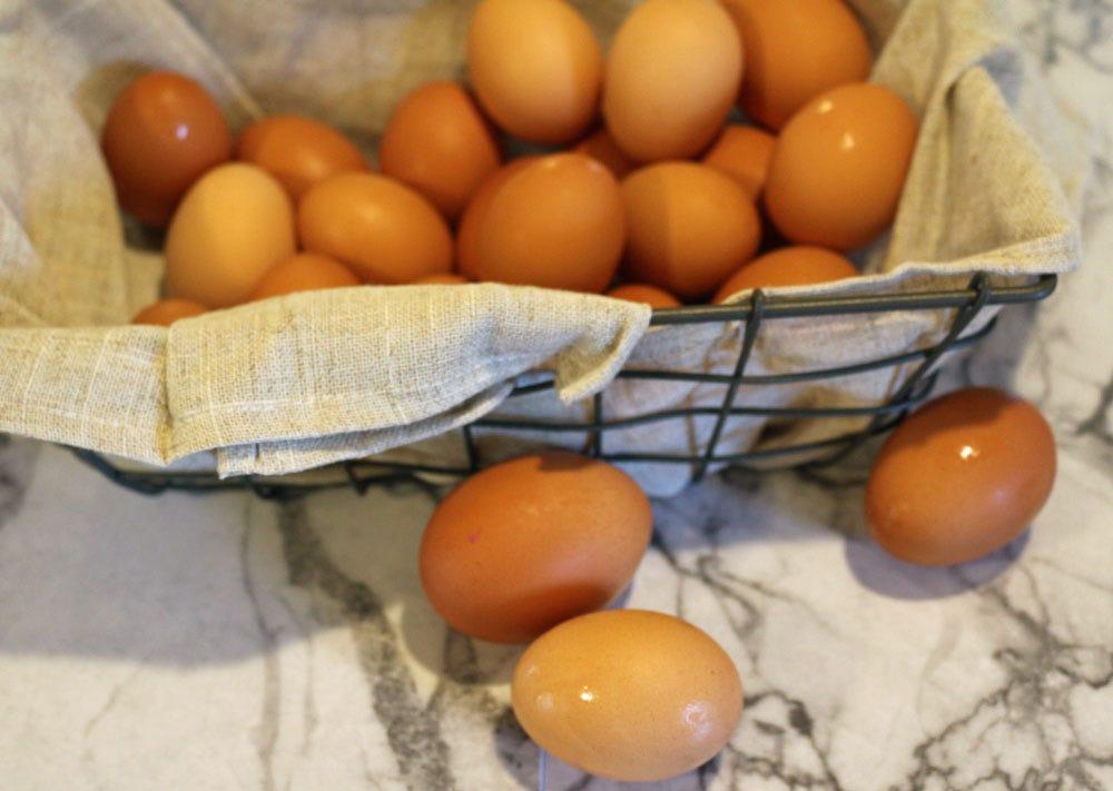 Farm-fresh eggs in a basket