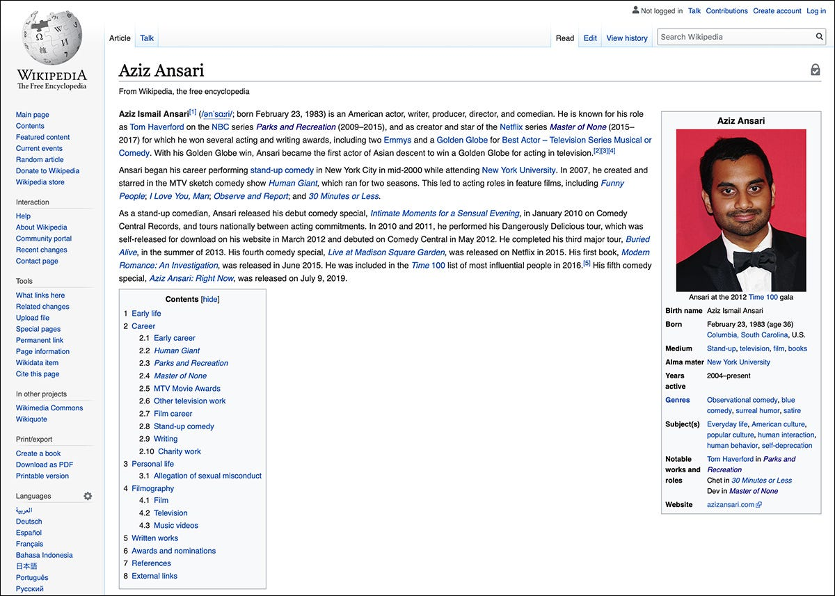 The Wikipedia page for actor Aziz Ansari.