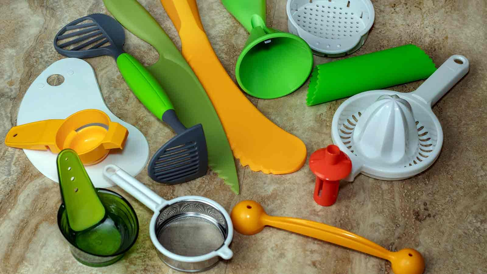 a pile of kitchen gadgets on a kitchen counter