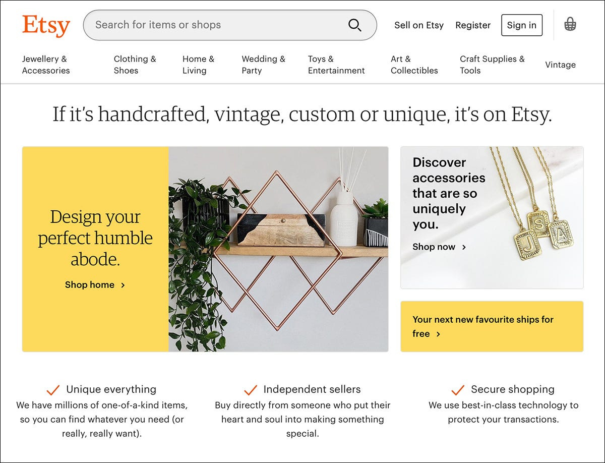 The Etsy website.