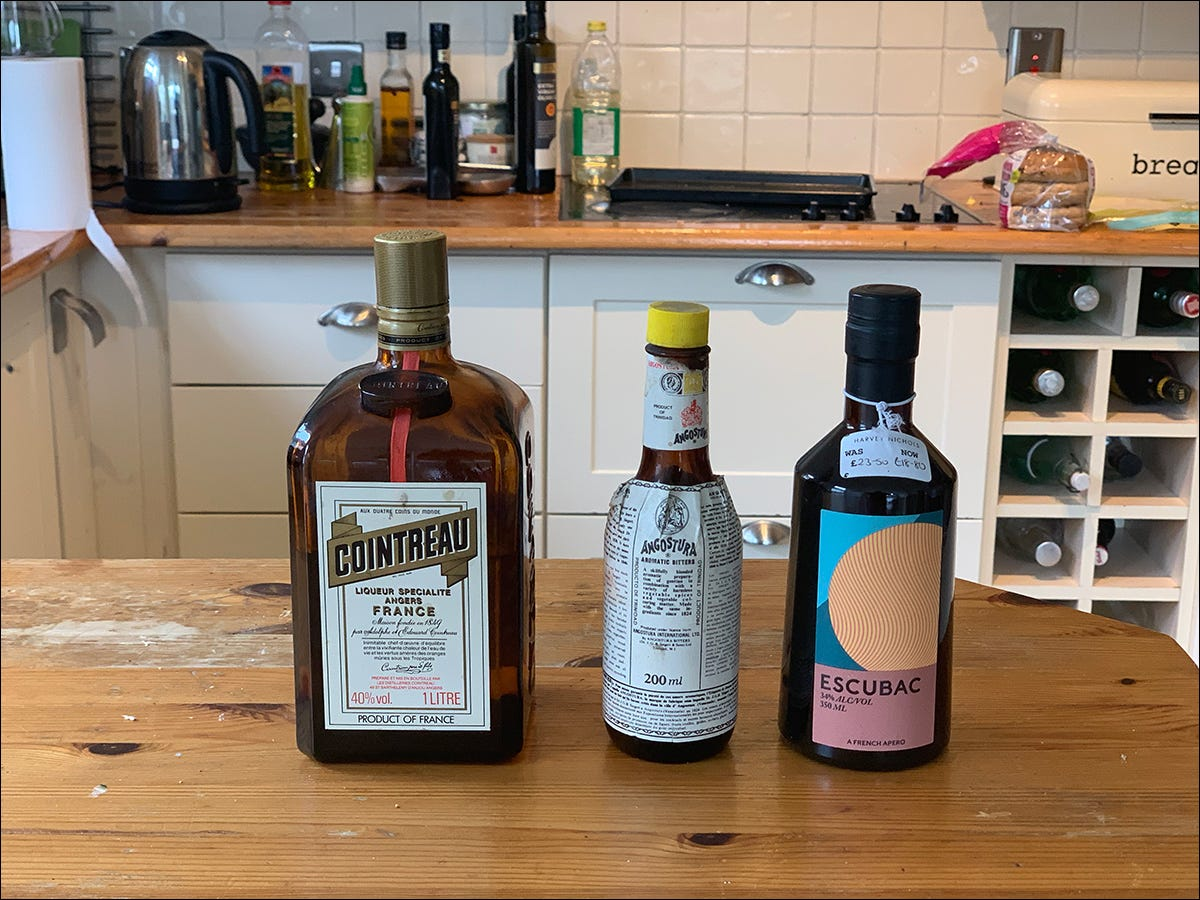 Aperitifs, bitters, and other cocktail ingredients.