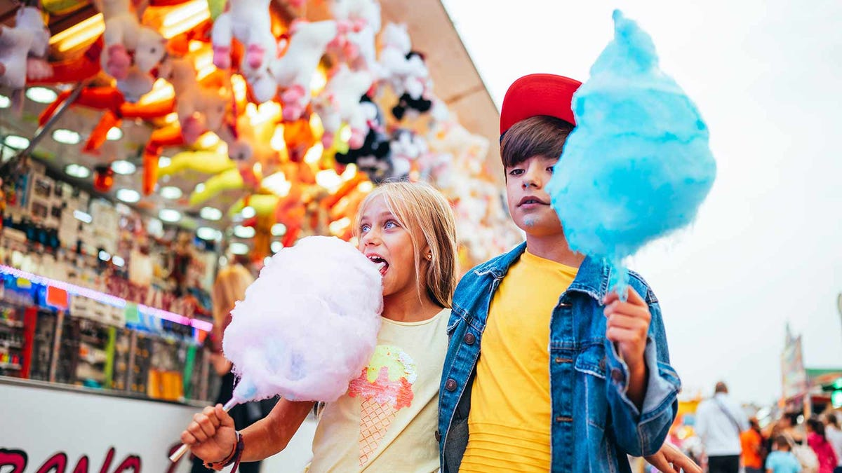 Kids eating cotton candy at a fair.