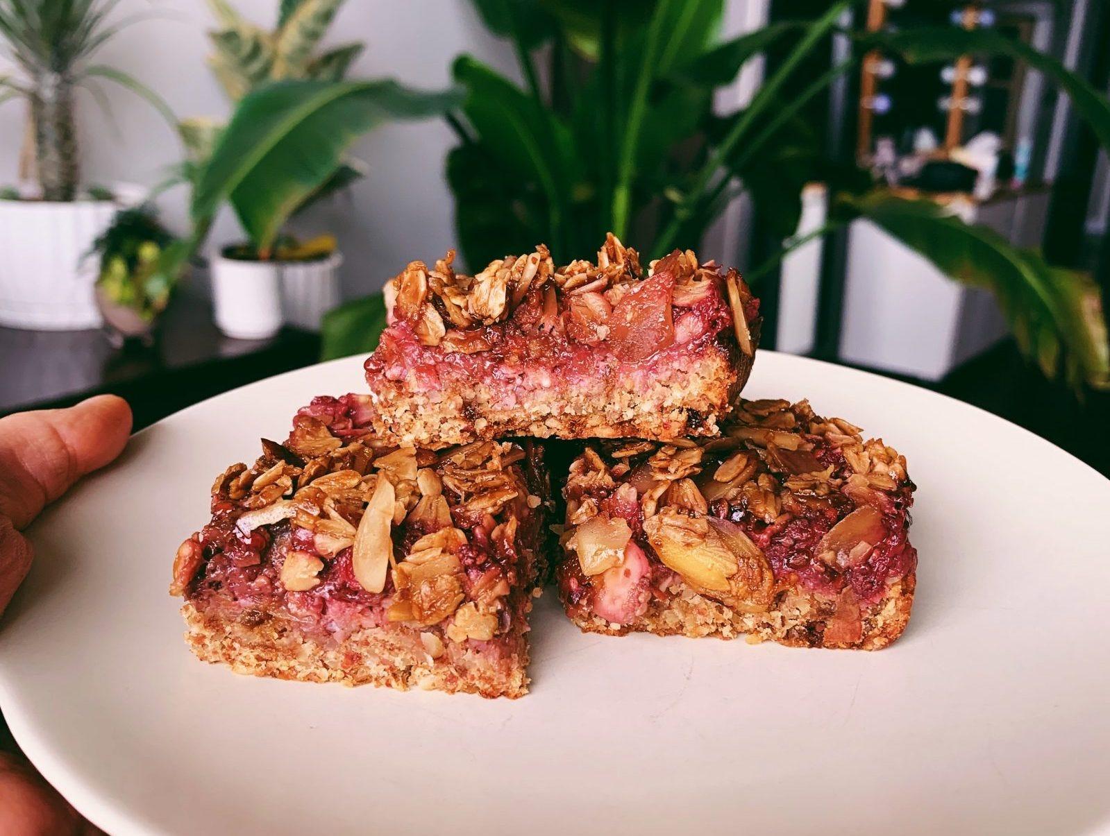Homemade raspberry oat bars