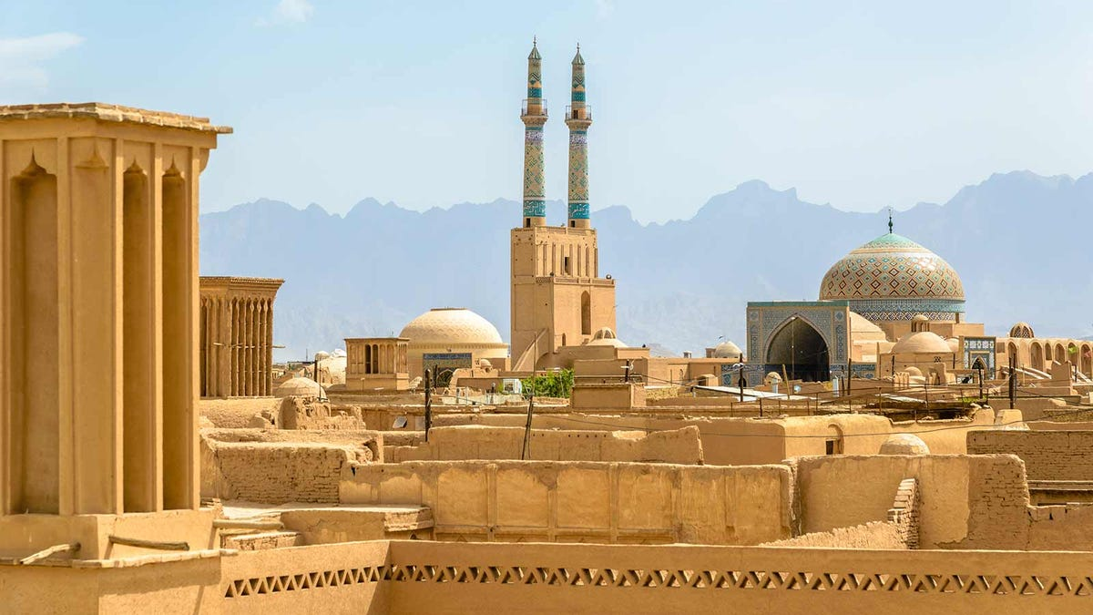 View of Tehran and the famous wind towers of its historic areas