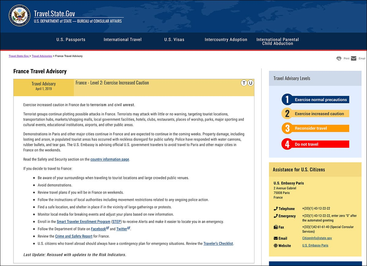 A travel advisory page at Travel.State.gov