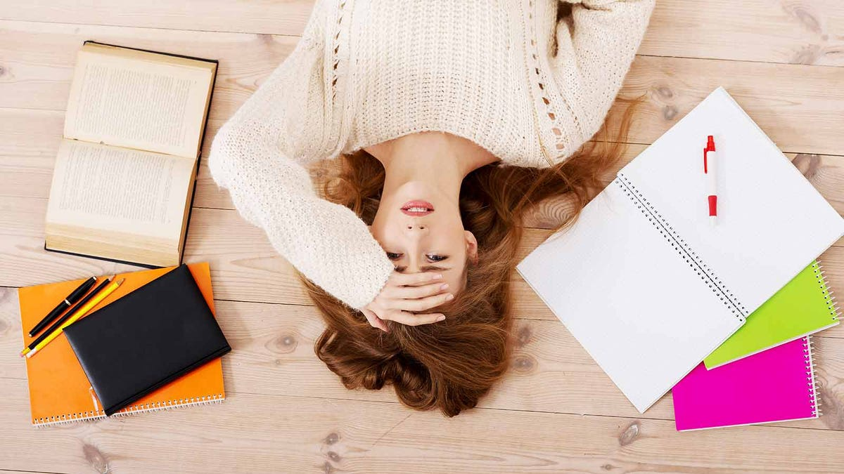 young woman stressed about school