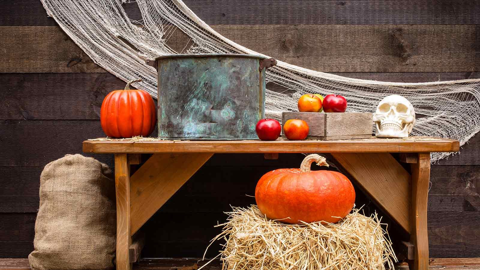 Apple bobbing station in a barn surrounded by apples, pumpkins, and a fake human skull.
