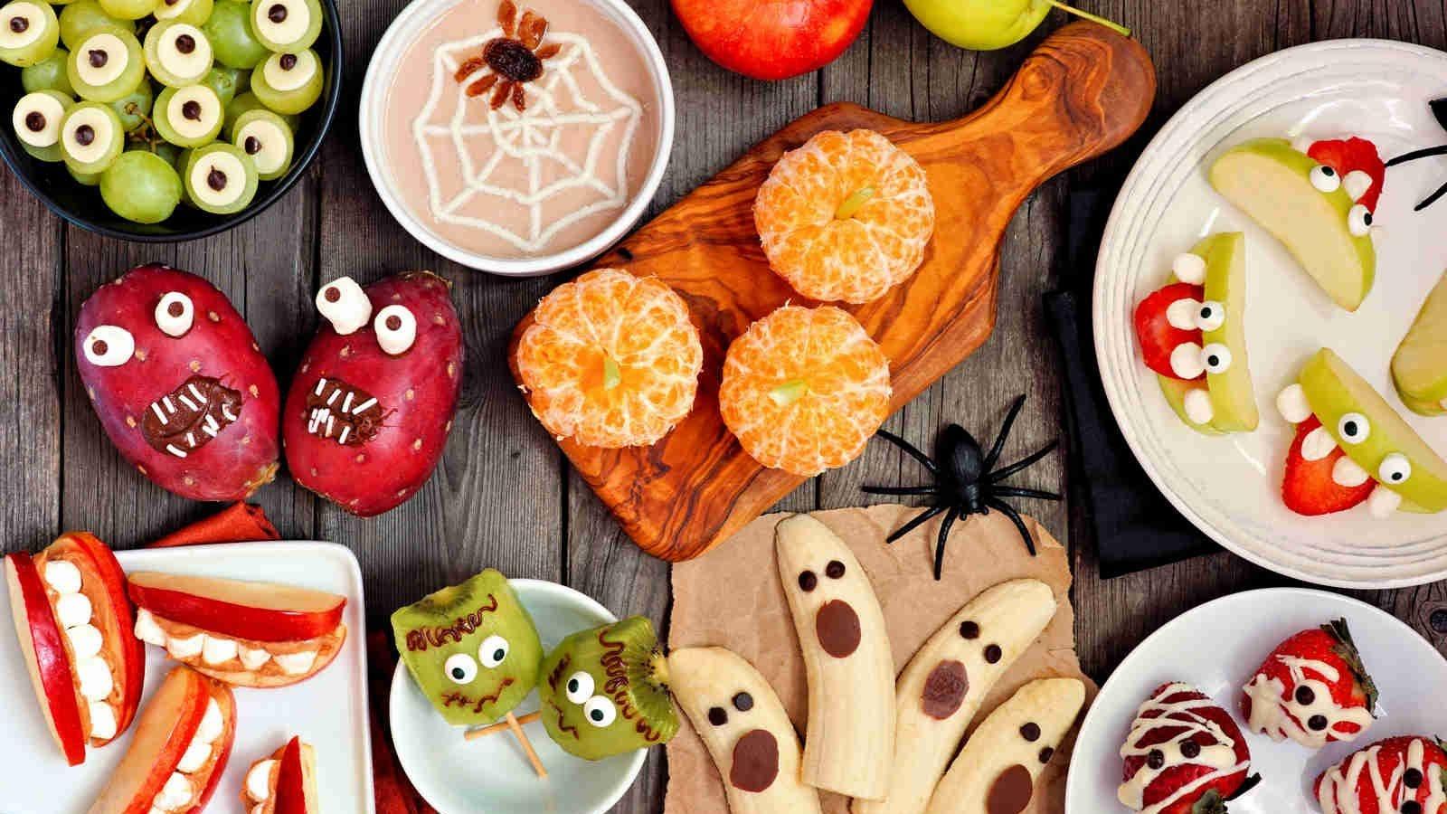 A table full of spooky Halloween treats.