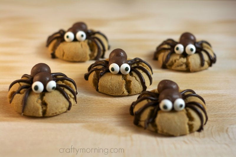 Five peanut butter spider cookies